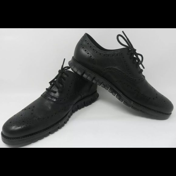 NEW Cole Haan Zerogrand Leather Wingtip Oxford Black//White Size 10